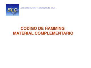CODIGO DE HAMMING  MATERIAL COMPLEMENTARIO