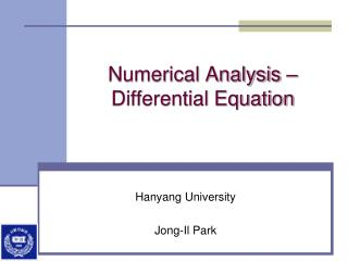 Numerical Analysis –  Differential Equation