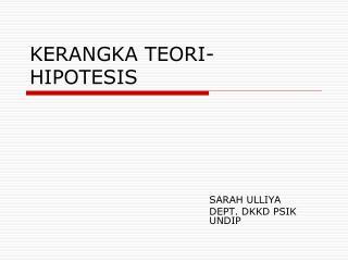 KERANGKA TEORI-HIPOTESIS
