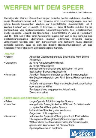 Werfen mit dem Speer Anne Weiler & Uta Lindemann