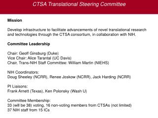 CTSA Translational Steering Committee