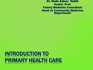 Introduction to Primary Health Care