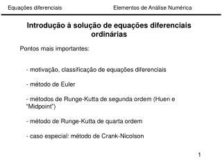 Introdução à solução de equações diferenciais ordinárias
