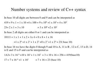 Number systems and review of C++ syntax