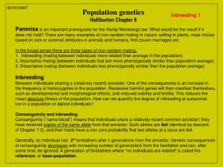 Population genetics Halliburton Chapter 8