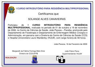 I CURSO INTRODUTÓRIO PARA RESIDÊNCIA MULTIPROFISSIONAL