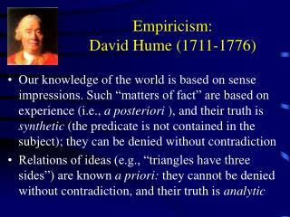 Empiricism: David Hume (1711-1776)