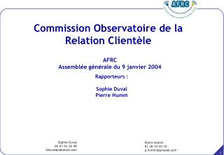 AFRC Assemblée générale du 9 janvier 2004