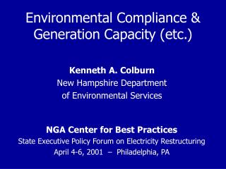 Environmental Compliance & Generation Capacity (etc.)