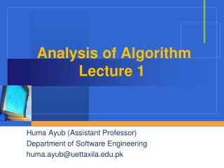 Analysis of Algorithm Lecture 1