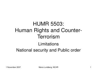HUMR 5503: Human Rights and Counter-Terrorism