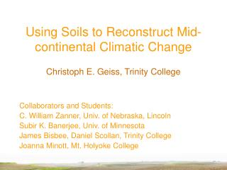Using Soils to Reconstruct Mid-continental Climatic Change
