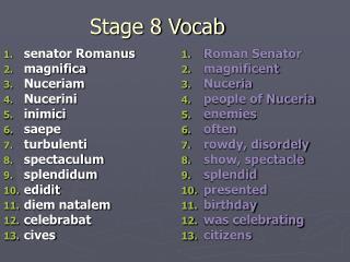 Stage 8 Vocab