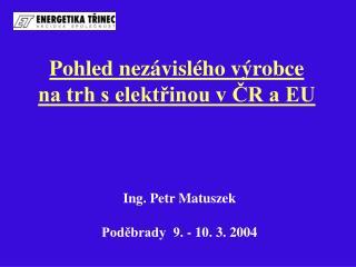 Pohled nezávislého výrobce na trh s elektřinou v ČR a EU