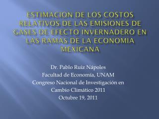 Dr. Pablo  Ruiz  Nápoles Facultad de Economía, UNAM Congreso  Nacional de Investigación en