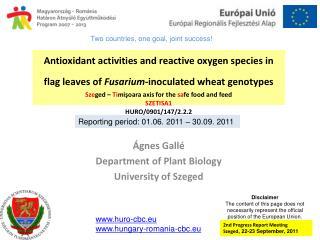 Ágnes Gallé Department of Plant Biology University of Szeged
