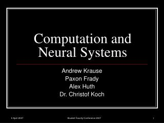 Computation and Neural Systems