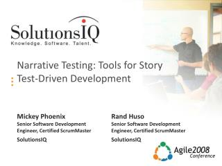 Narrative Testing: Tools for Story Test-Driven Development