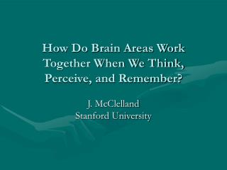 How Do Brain Areas Work Together When We Think, Perceive, and Remember?