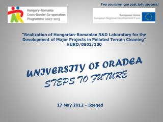UNIVERSITY OF ORADEA STEPS TO FUTURE