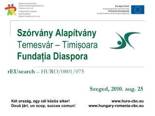 Szórvány Alapítvány Temesvár – Timișoara Fundația Diaspora