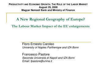 A New Regional Geography of Europe? The Labour Market Impact of the EU enlargements