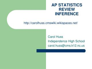 AP STATISTICS REVIEW INFERENCE