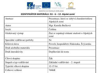 IDENTIFIKÁTOR MATERIÁLU: EU - 6  – 12- Alpské země
