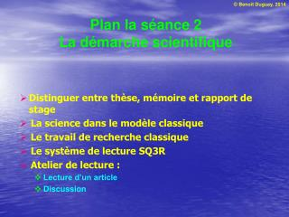 Plan la séance 2 La démarche scientifique