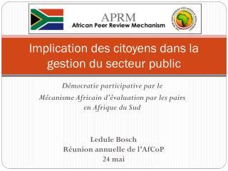 Implication des citoyens dans la gestion du secteur public