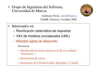 Interesados en  Reutilización sistemática de requisitos V&V de modelos conceptuales (UML)