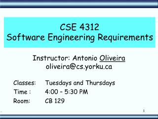 CSE 4312 Software Engineering Requirements