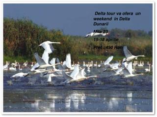 Delta tour va ofera  un weekend  in Delta Dunarii  Mila 23 15-18 aprilie  Pret : 450 Ron