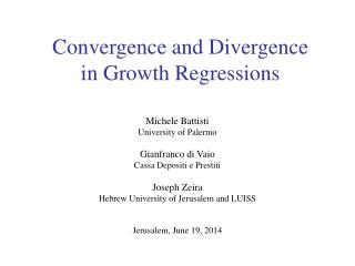 Convergence and Divergence in Growth Regressions