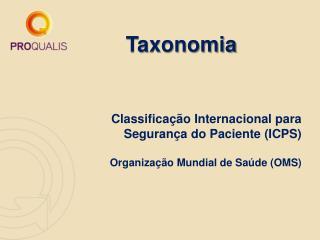 Classificação Internacional para  Segurança do Paciente (ICPS) Organização Mundial de Saúde (OMS)