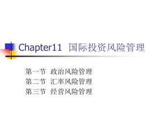Chapter11   国际投资风险管理