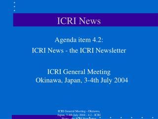 ICRI News