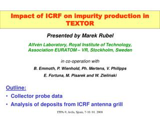 Impact of ICRF on impurity production in TEXTOR