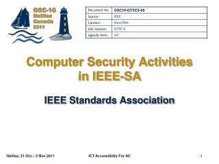 Computer Security Activities in IEEE-SA