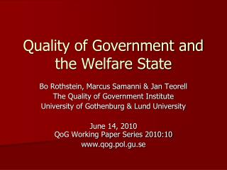 Quality of Government and the Welfare State
