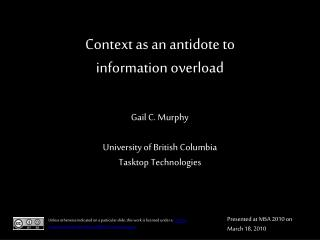 Context as an antidote to information overload