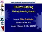 Risikovurdering Niv  og tiln rming til tema  Seminar Sikker Arbeidsdag Sandvika 4. mai 2010 Audun T. S tre, direkt r NOO