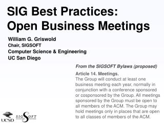 SIG Best Practices: Open Business Meetings