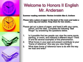 Welcome to Honors II English Mr. Andersen