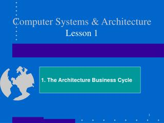 Computer Systems & Architecture Lesson 1