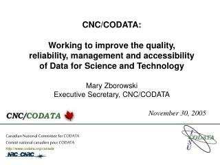 Canadian National Committee for CODATA Comit� national canadien pour CODATA