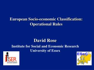 European Socio-economic Classification: Operational Rules