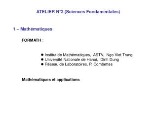 ATELIER N°2 (Sciences Fondamentales)