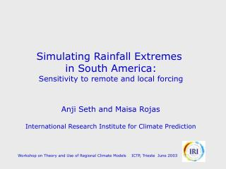 Simulating Rainfall Extremes  in South America: Sensitivity to remote and local forcing