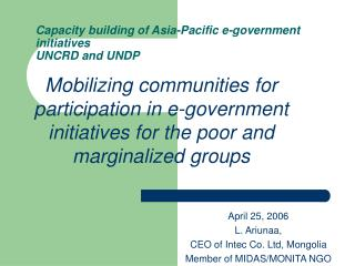 Capacity building of Asia-Pacific e-government initiatives  UNCRD and UNDP